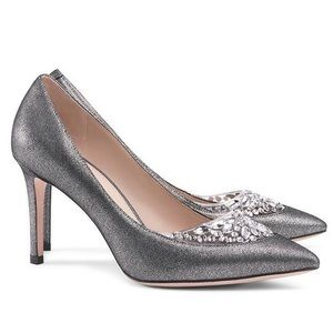 BNIB Tory Burch Delphine Metallic Pewter Pumps